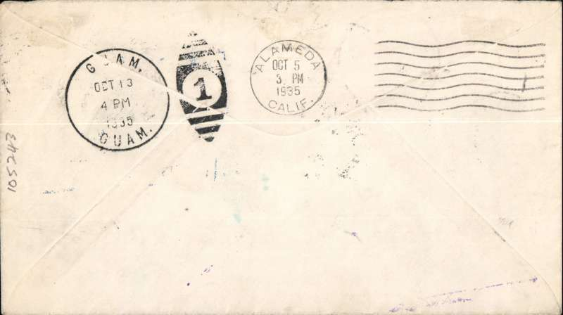(United States) Pan American survey flight, San Francisco to Guam and return, East and West bound cachets, all appropriate departure and arrival postmarks, scarce round trip. Scarce item in fine condition.
