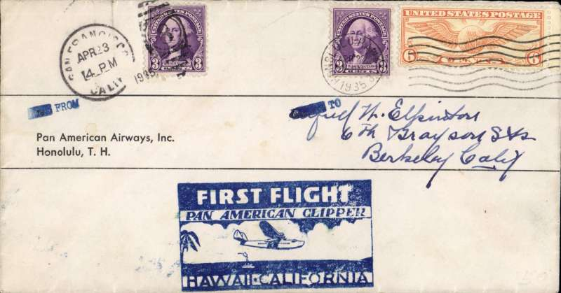 (Hawaii) First round trip Pan American Survey Flight, Honolulu to San Francisco return leg, printed company cover franked US 9c canc Honolulu depart cds San Francisco 23 Apr 1935 arrival cds, fine strike official F/F cachet. Piloted by Edwin Musik and carrying ROD Sullivan, Fred Noonan and Victor Wright. Nice item.