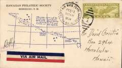 """(Hawaii) US Navy Trans Pacific trial flight, Air Squadron V-P8 first thirteen-hour round-trip from Pearl Harbour, Hawaii to Midway Island and return, piloted by the late Vice Admiral Clifton """"Ziggy"""" Sprague"""". Airmail cover franked 8c air canc 'Fleet Air Base Pearl Harbour/Feb 13 1934', blue cachet on front with illustration of map of route between Honolulu and Midway with text, """"Message carried by U.S.N. Air Squadron V-P8 from Pearl Harbour to Midway Island and return, app 2650 miles""""; also an initialled 'Navy Base Clerk.Aircraft Base Clerk' hs. Scarce item in fine condition."""