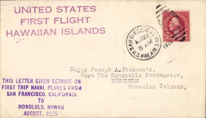 (United States) Nonstop Flight, San Francisco to Hawaii, PN9-3 Flight (AAMC 1033a). Magenta and purple handstamped cachets on cover to Honolulu, 2c tied by San Diego Aug. 22 duplex, Very Fine.