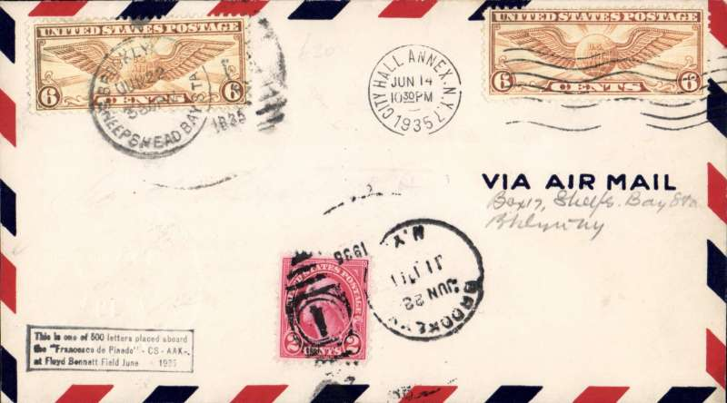 "(Recovered/Salvaged Mail) Attempted flight of the ""Francesco De Pinedo"" from New York to Rome, Alfred and George de Monteverde. Postmarked at City Hall Annex, New York, on June 14, 1922, and at Brooklyn, June 22. Boxed cachet at lower left notes flight attempt. Notary Public seal at lower left. American Air Mail Catalog / Trans-Oceanic Record Flights 1237."