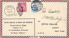 """(Newfoundland) Hillig & Horius, transatlantic flight via plane """"Liberty"""", Liberty, N.Y. to Denmark, Copenhagen 3/7 arrival cds on front tying 25o Danish stamp, franked 2c, canc Liberty, N.Y.cds, printed souvenir cover, signed on front Otto Hillig and Halgar Horius, AAMC FF 43."""