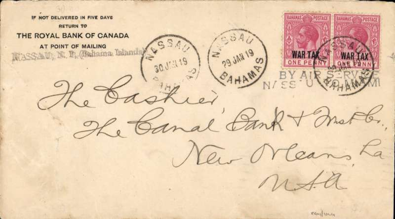 """(Bahamas) First successful ocean flight, Nassau-Miami flight, Bank Of Canada corner cover franked 1d x2 'War Tax' opts, canc Nassau 29 and 30 cds's, two line """"BY AIR SERVICE/NASSAU TO MIAMI"""" . Nice early item. AAMC 1001."""