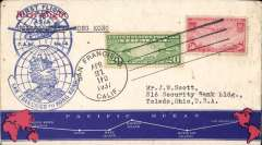 (United States) F/F FAM 14 flown by 'China' then 'Hong Kong' Clipper, at new reducd 70c rate, San Francisco to Hong Kong, cachet, b/s, printed souvenir cover with map of route, Pan Am.