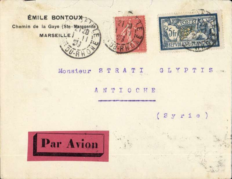 (France) Early airmail, France to Syria, MARSEILLE TO ANTIOCHE, leaving Marseille Gare bs 2/11 and carried by A.U.L.O. (Air Union-Lignes D'Orient) by air to Beirut bs 5/11 and car to Damascus,  then on by surface to Antioche bs 7/11 (formerly in Syria now in Turkey). Printed corner cover, franked F5.00 Merson + 25c colonial, red/black airmail etiquette, RATED  F5.50 ( 5F/10g up to 12/12/29  + 50c ordinary). An early airmail to an uncommon destination.