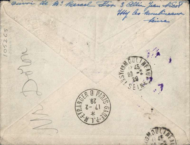"(Recovered/Salvaged Mail) Costes, Codos and Bellonte, France to Indo-China special flight which left 19/2/29 but a short time later developed engine trouble and had to crash land at Bondy, France.  Plain cover franked  F10 Merson + 50c canc 'Post Aerienne/France-Indochina 19/2' cds's, also Paris 16/2 cds, red/black etiquette and ms 'Par voie aerienne de France en Indochine'. Mail returned to sender with special three line violet  ""Raid Interrompu/Par Accident/Retour a l'envoyer"" hs,  Correctly RATED  F10.50 for F10.00 air fee and 50c colonial.  Ni 290219a