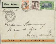 (French Indochina) Indo-China to France, SAIGON TO MACON  LOIRE, carried on the fortnightly Air Orient service flight posted 18/1, left Saigon 19/1, arrived Marseilles 30/6 and delivered Macon bs 1/7. Carried by landplane to Damascus, bus/car to Beirut, and flying boat to Marseille. Grey/orange 'Via Air Orient', grey green/black airmail etiquette, ms 'Saigon-Marseille'. Franked 66c, correctly RATED for 60c air charge + 6c ordinary.