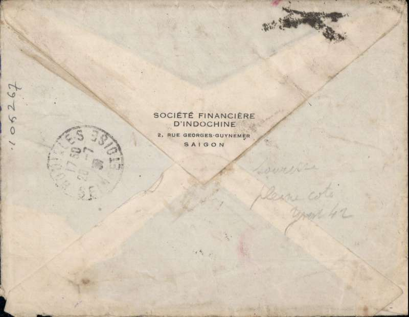 (French Indochina) Indo-China to France, SAIGON TO HOUILLES, carried on the fortnightly Air Orient flight leaving Saigon bs 17/7, arriving Marseilles 26/7, and delivered Houilles bs 28/7. Carried by landplane to Damascus, bus/car to Beirut, and flying boat to Marseille. Plain commercial cover with a round red 'Controle/Avion' handstamp (used by the Bureau de Saigon between 1931-34) to testify correct franking for airmail letters, also a red/black 'Par Avion/Saigon-Marseille/Via Air Orient' etiquette which, on arrival at Marseilles, was struck over with a black crossed bars hand stamp to mark the end of air transport.  Franked 66c, correctly RATED for 60c air fee + 6c colonial. A super cover with great routing. Small non invasive lower rh corner nibble, does not detract