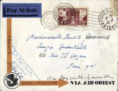 (French Levant) French Levant to France, APO610 TO PARIS, carried on the  weekly Air Orient service flight leaving Beirut (APO 600 6/5 cds verso) and arriving Marseilles 8/5 arrival cds on front. Carried by car to Beirut then flying boat to Marseille. Attractive orange/grey 'France/Syrie/Indochine' cover with black 'winged horse' logo, ms 'Via Beyrouth and Marseille, and dark blue/black etiquette, correctly RATED free basic (military) + 2F/10g air fee.