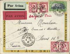 (French Indochina) South East Indo-China to France, TRANGBANG/COCHINCHINA TO PARIS, carried on the weekly Air Orient service flight posted 4/5 via Saigon 6/5 cds, arriving Marseilles bs 15/5, and delivered Paris bs 17/5. Carried by landplane to Damascus, bus/car to Beirut, and flying boat to Marseille. Attractive printed cream/yellow  'Cochinchine-France-Via Air-Orient company cover with black framed 'Saigon-Marseille' directional hs affixed by Le Bureau Central de Saigon, red/black and  pale green/black airmail labels, and ms 'Saigon-Paris',  Correctly franked F1.30 for DOUBLE RATE 2x60c/10g air fee  + 10c/20-50g colonial.