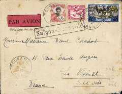 (French Indochina) Indo-China to France, TOURAN (VIETNAM) TO LE VESINET, carried on the weekly Air Orient service flight, posted 3/5, leaving Saigon bs 9/5, arriving Marseilles bs 22/5 and delivered Le Vesinet bs 23/5. Carried by  landplane to Damascus, bus/car to Beirut and   flying boat to Marseille. Plain cover, ms 'Saigon-Marseille', a red/black etiquette, and a black framed 'Saigon-Marseille' directional hs affixed by Le Bureau Central de Saigon. Franked F1.26 for DOUBLE RATE 60c/10g x2 air fee + 6c/0-20g colonial. Good routing.