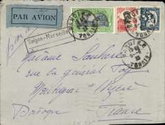 (French Indochina) Indo-China to France, HANOI to DORDOGNE, carried on the weekly Air Orient flight, posted 9/6, left Saigon bs 10/6 and arrived Marseilles bs 19/6. By Indochina Railway to Saigon, landplane to Damascus, bus/car to Beirut, and  flying boat to Marseille. Plain cover, blue grey/black etiquette, ms 'Par Avion', black framed 'Saigon - Marseille' with dotted line below directional hs applied by the Le Bureau de Hanoi to all Tonkin letters transiting through Saigon, used from early 1931 to early 1934. Franked F1.26 for DOUBLE RATE 2x 60c/10g air fee + 5c/0-20g ordinary. Great routing.