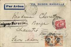 (French Indochina) Indo-China to France, SAIGON TO SAONE ET LOIRE, on the weekly Air Orient flight leaving Saigon 5/8 arriving Marseilles bs 16/8 and delivered 17/8. Carried by landplane to Damascus, bus/car to Beirut, and  flying boat to Marseille. Attractive blue/grey ' Via Saigon/Marseille' imprint etiquette cover, black framed 'Saigon - Marseille' directional hs applied by the Le Bureau de Saigon, and a round red 'Controle/Avion' handstamp (used by the Bureau de Saigon between 1931-34) to testify correct franking for airmail letters. Correctly RATED 36c for 30c/5g air fee (introduced 1/7/32) + 5c/0-20g colonial.