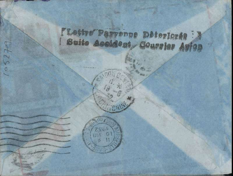 (Recovered/Salvaged Mail) A crash at Beirut of the weekly Air Orient service flying boat 'Liban' on a France to Indonesia flight, VOSEGES to SAIGON, which left Marseille 10/8 cds. The salvaged mail was forwarded by KLM arriving Saigon 19/8 cds. Plain cover, stamps washed off, residual Voseges postmarks, date unclear, verso good strike black two line 'Lettre Parvenue Deteriore/Suite Accidente Courrier Avion' applied in Saigon. Ni 320813a.