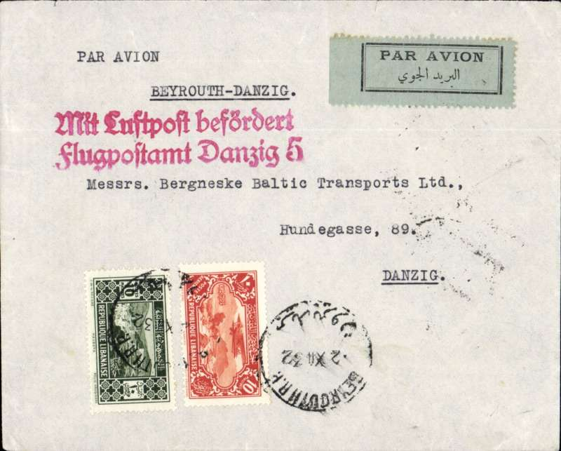 (Lebanon) LEBANON TO DANZIG, by the weekly Air Orient service flight leaving 2/12 arriving Marseilles 4/12 December. Carried by flying boat  to Marseille, then OAT to Danzig via Berlin 5/12 arrival cds. Plain etiquette cover, typed 'Beyrouth-Danzig, very fine strike red two line 'Mit Luftpost befordert/flugpostampt Danzig 5' receiver. Franked 20P for 7.50P ordinary and 9x P1.50 air fee.