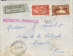 (Lebanon) LEBANON TO MARSEILLE by Air Orient weekly flying boat leaving 9/12 arriving Marseilles 12/12 arrival cds. Plain etiquette cover, fine strike red 'Beyrouth-Marseille' hand stamp, franked P14.00. Flap tear verso, hardly detracts, see scan.