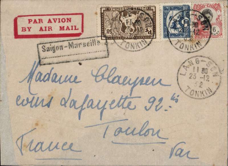 (French Indochina) TONKIN (Vietnam) to TOULON, left Saigon 24/12 December on the weekly Air Orient service flight arriving Marseilles 2/1/33 arrival ds, , black framed 'Saigon - Marseille' with dotted line below directional hs applied by the Le Bureau de Hanoi to all Tonkin letters transiting through Saigon, used from early 1931 to early 1934 January 1933. Imprint red etiquette cover DOUBLE RATED 66cts for 2x air fee of 30cts + 6c postage. Non invasive rear flap damage, see scan.