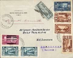 (Lebanon) Lebanon to Holland, BEYROUTH TO GRONINGUE, on the weekly Air Orient service  light leaving Beirut 31/12 arriving Marseilles 2/1/33 arrival cds, attractive PO Box corner cover, ms 'Beyrouth-Marseille' grey blue/black etiquette  cover with black cross control mark applied by the Bureau de Saigon (used until 30/6/31). This control mark testified the correct franking for airmail letters. Franked 14pt.
