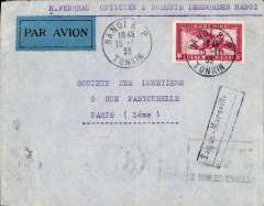 (French Indochina) Indo-China to France, HANOI (Vietnam) to PARIS by the weekly Air Orient service flight leaving 20 /1 arriving 29/1, delivered 29 January (b/s). Plain etiquette cover, black framed 'Saigon - Marseille' with dotted line below directional hs applied by the Le Bureau de Hanoi to all letters transiting through Saigon, used from early 1931 to early 1934. Franked 36c for 6c colonial rate plus 30c air fee.