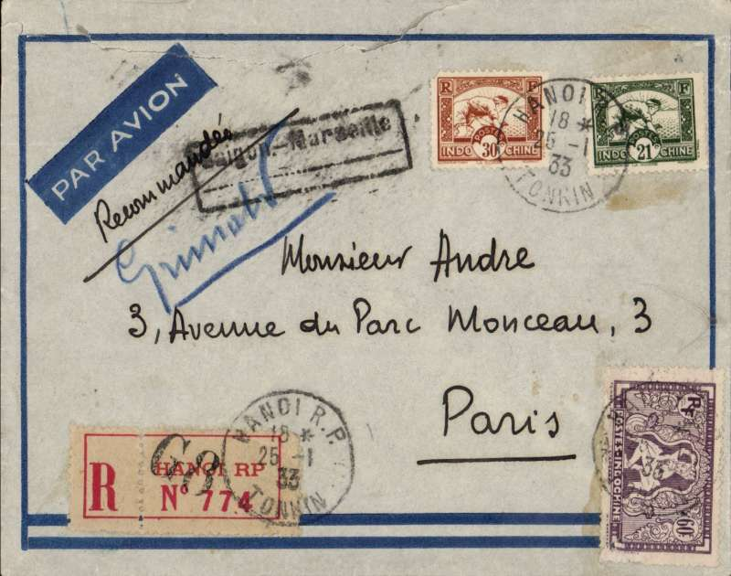 (French Indochina) HANOI /TONKIN (Vietnam) to PARIS, by the weekly Air Orient service flight leaving 27/1 arriving Marseille 6/2, delivered 7/2 (b/s). Registered (label) blue border cover RATED $1.11 for 6c ordinary, 15c registration, and triple air fee at 30c.