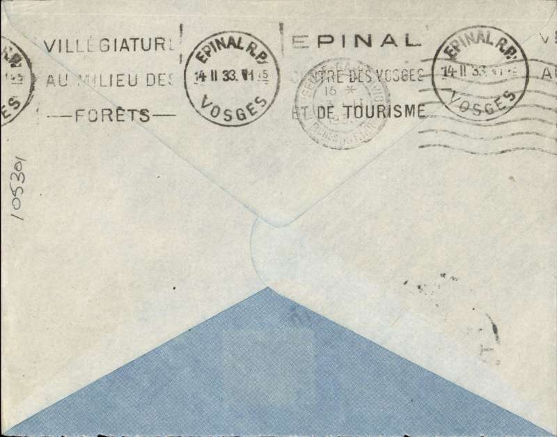 (French Indochina) HANOI/TONKIN to VOSEGES (France), by the weekly Air Orient service leaving Saigon 5/2 arriving Marseille 13/1 (b/s) and delivered Voseges 14/2 (b/s). Plain etiquette cover, black framed 'Saigon - Marseille' with dotted line below directional hs applied by the Le Bureau de Hanoi to all Tonkin letters transiting through Saigon, used from early 1931 to early 1934. RATED 36c for 6c ordinary plus 30c air fee. Rear flap has been removed neatly.