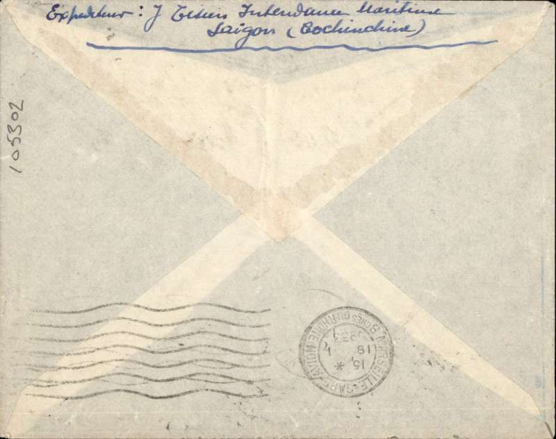 (French Indochina) Indo-China to France, SAIGON TO PARIS by the weekly Air Orient service leaving 7/1 arrived Marseille 18/1 (b/s). Blue/grey 'Via Air Orient cover, ms 'Saigon-Marseille' and round red 'Controle/Avion' handstamp applied by the Bureau de Saigon between 1931-34. Control marks affixed on the Indochinese mail testified the correct franking for airmail letters  (see 'Ligne Nogues', Collot & Cornu, p255). Franked 36cts.