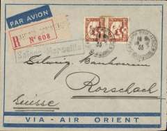 (French Indochina) Indo-China to Switzerland, SAIGON TO RORSCHACH by the weekly Air Orient service leaving 19/2 arriving Marseille 27/2, delivered 28/2 (b/s). Registered (label) blue/grey 'Via Air Orient cover, black framed 'Saigon-Marseille' directional hs affixed by Le Bureau Central de Saigon. Franked 60c for 15c UPU, 15c registration and 30c air fee.