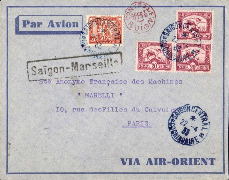 (French Indochina) SAIGON TO PARIS by weekly Air Orient flight arriving Marseille 30/4 (bs), grey/blue edged 'Via Air Orient' cover, black framed 'Saigon-Marseille' directional hs affixed by Le Bureau Central de Saigon, also a round red 'Controle/Avion' handstamp applied by the Bureau de Saigon between 1931-34. Control marks affixed on the Indochinese mail testified the correct franking for airmail letters. DOUBLE RATED 66c for 2x 30c air fee and 6c ordinary. .