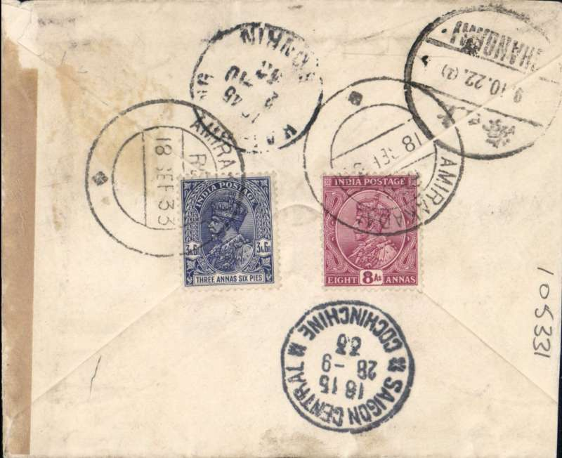 (India) Airmail cover India to China, AMIRA KIDAL TO SHANGHAI, by the Air Orient weekly flight which left Calcutta c26/9 and arrived Saigon 28/9 (b/s), on to Hanoi 2 /10 (b/s), delivered Shanghai 9 /11 (bs). Plain etiquette registered (label) cover addressed to the Eurasia Aviation Corporation Shanghai, ms 'By Air', franked 11 ½ As for 3 ½ A UPU rate 3A registration and 5 annas air fee to Indo-China. AMIRA KIDAL is a rare origin of great historical significance, see Wikipedia.
