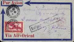 (French Indochina) Indo-China to France, SAIGON TO LYON by weekly Air Orient flight which left 19/11, arriving Marseille 27/11 (b/s 28/11), delivered 29/11 (b/s). red/blue/grey 'Via Air Orient' cover, with black framed 'Saigon-Marseille' directional hs affixed by Le Bureau Central de Saigon, franked 36cts for 6c Colonial and 30c air fee.