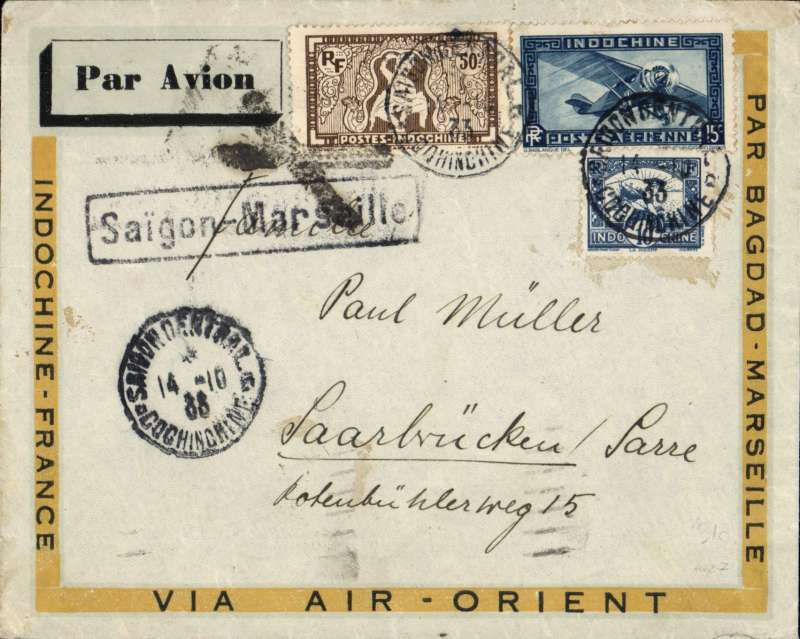 (French Indochina) Indo-China to the SAAR, SAIGON TO SAARBRUCKEN by weekly Air Orient flight which left 15/10 and arrived Marseilles 23 /10 (b/s) and on by surface to destination. Attractive grey/blue yellow 'Indochine-France-Par Baghdad-Marseille-Via Air Orient' bordered imprint etiquette cover, framed 'Saigon-Marseille' directional hs affixed by Le Bureau Central de Saigon, framed black cross Jusqu'a applied Marseilles to annul 'Par Avion' etiquette, franked 75c for 15c UPU plus double 30c air fee (To France only). Saar was a region of Germany occupied and governed by the United Kingdom and France from 1920 to 1935 under a League of Nations mandate. Scarce item in fine condition