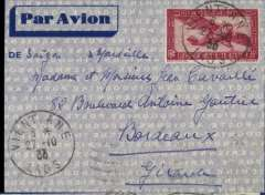 (Laos) LAOS to France, VIENTIAN TO BORDEAUX by weekly Air Orient flight which left Saigon 5/11 and arrived Marseilles 14/11 (b/s) and delivered 16/11 (b/s), blue border imprint etiquette cover franked 36c for 6c colonial rate and 30c air fee.