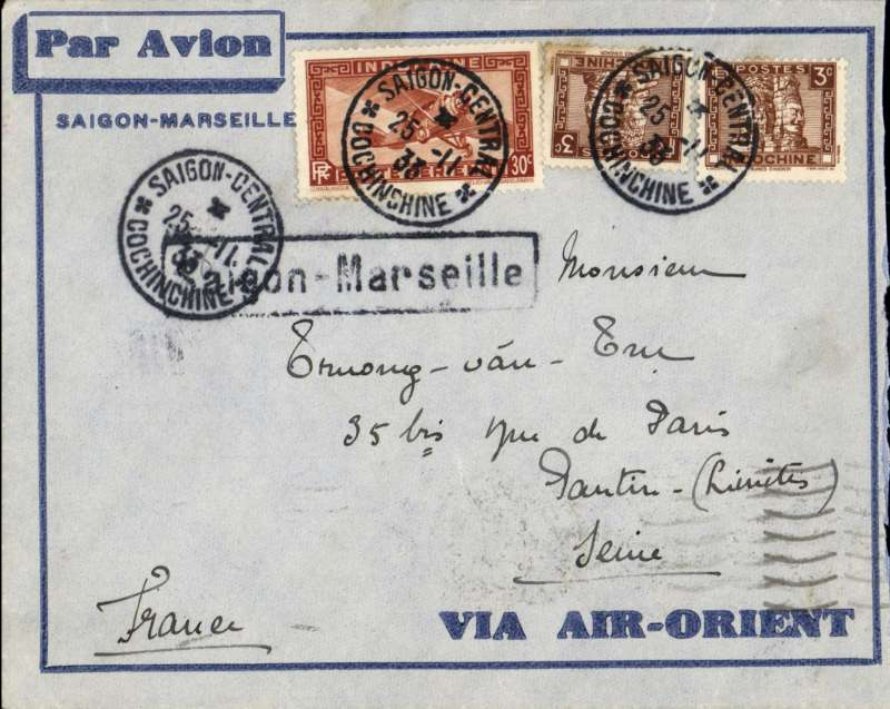 (French Indochina) SAIGON TO PANTIN (PARIS) by weekly Air Orient flight leaving 26/11,  scheduled to arrive at Marseilles 3/12 but delayed until 8/12, and delivered Pantin 9/12. Blue/light blue 'Saigon-Marseille' and 'Via Air Orient' envelope, black framed 'Saigon-Marseille' directional hs affixed by Le Bureau Central de Saigon, franked 36c for 6c Colonial and 30c air fee.
