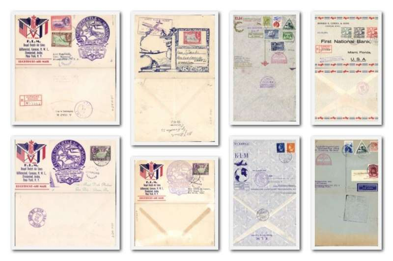 (Collections) Netherlands Antilles collection of 8 first flight covers 1931-61, all fine, no duplication. See Website for full size front and back scan of each item.