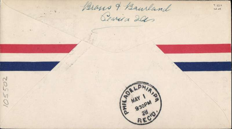(Recovered/Salvaged Mail) Philadelphia, CAM 19 first flight New York-Atlanta, airmail cover franked 10c air canc NY cds, official magenta flight cachet. Identified by Philadelphia 'May 1/9.30pm/28' bs, AAMC 280501.