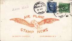 ( United States Internal) Experimental flight ex Cleveland, US Govt flight #110, Roessler 'Air Plane/Stamp News' cover, correctly franked 6c canc Cleveland cds,straight line 'Aero Mail' hs.