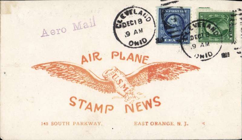 (Recovered/Salvaged) Experimental flight ex Cleveland, US Govt flight #110, Roessler 'Air Plane/Stamp News' cover, correctly franked 6c canc Cleveland cds,straight line 'Aero Mail' hs.