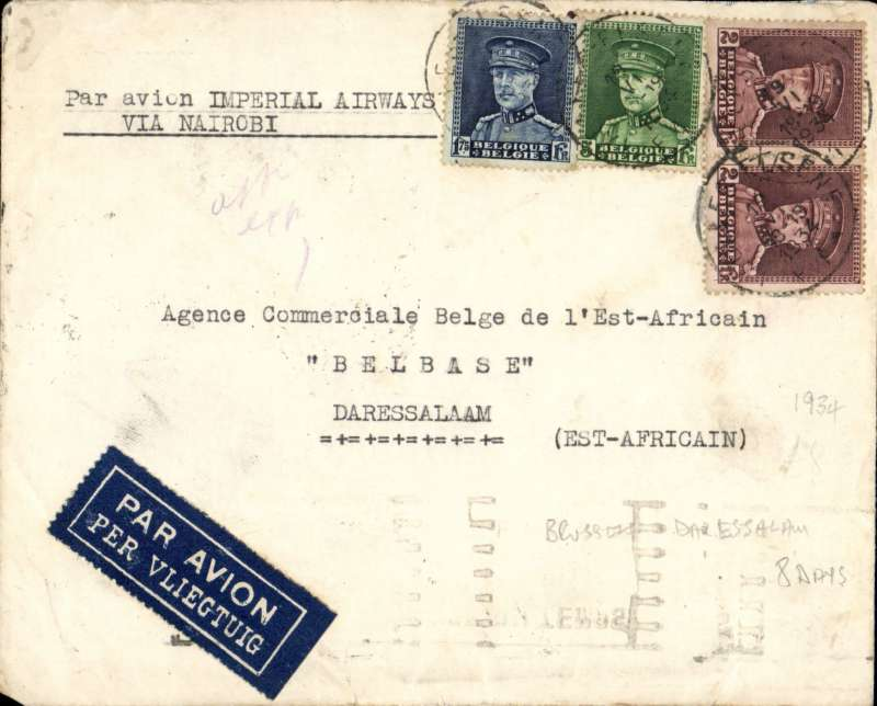 (Scarce and Unusual Routings) BRUSSELS TO DAR ES SALAAM, carried by Imperial Airways southbound service AS173 via Paris bs 20/6, by 'Sylvanus' to Khartoum and 'Helena' to Nairobi arriving 25/6, then by Wilson Airways to Dar es Salaam bs 26/6, etiquette cover, typed 'Par Avion Imperial Airways/Via Nairobi',  franked 10.75F. Nice routing.