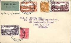 (New Zealand) Christmas Airmail by ANA Sydney-London flight, Wellington to London, no arrival ds, franked 1931 Airs set and 2d, 1d ordinary, large red boxed 'New Zealand-Australia-London' light cachet verso, ms 'Sydney-London', black/ GREY green blue etiquette rated very scarce by Mair. Delayed by crash at Alor Star, arrived London 16/12.