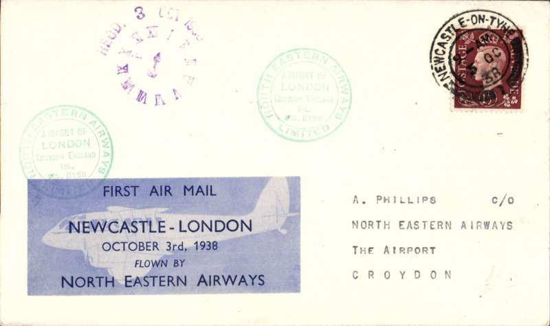 (GB Internal) North Eastern Airways, F/F Newcastle to London, 'clock' receiver, cover franked 1 1/2d, Newcastle-London company vignette tied by green double ring 'Croydon/North Eastern Airways Ltd' cachet.
