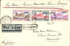 (Tunisia) Tunis to London, grey blue/black etiquette tied by Tunis cds, franked  three different 1928 1F50 'Poste Azerienne' surcharges, ms Par Avion-Tunis -Marseille-Paris-Londres, bs Marseiile-Gare 1/1/31, frame 'Avion Parti' hs cancelling airmail etiquette. Interesting - has Francis Field authentication hs verso. See scan.