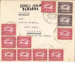 (Ecuador) Early airmail, Ecuador to Panama, bs 30/3, attractive cover with 'prancing horses' logo on flap franked 85c canc Guayaquil cds and fine strike black two line 'Correo Aereo/Panagra' hs on front.