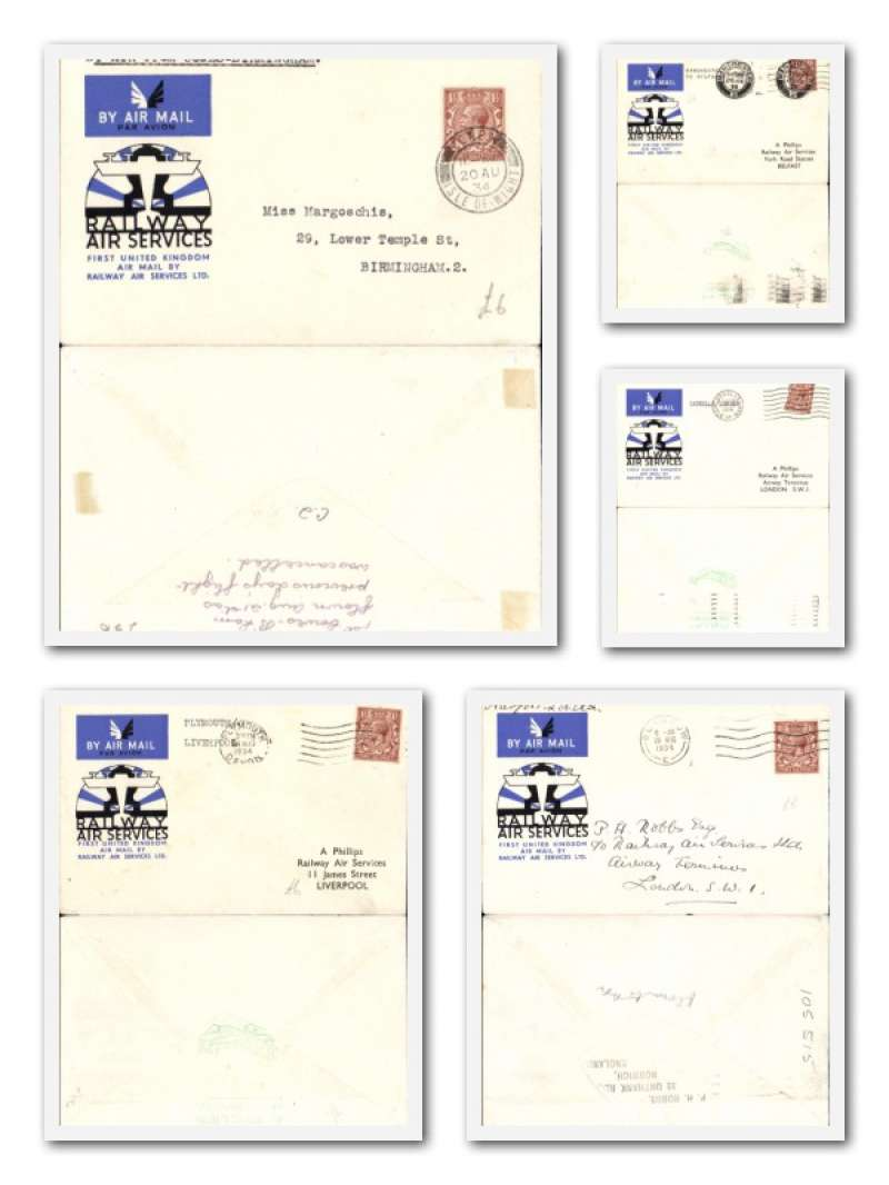 (Collections) Railway Air Services, 20/8/1934, five first flights on official covers , all fine, no duplication. See the website for a front and back scan of each cover in the lot.