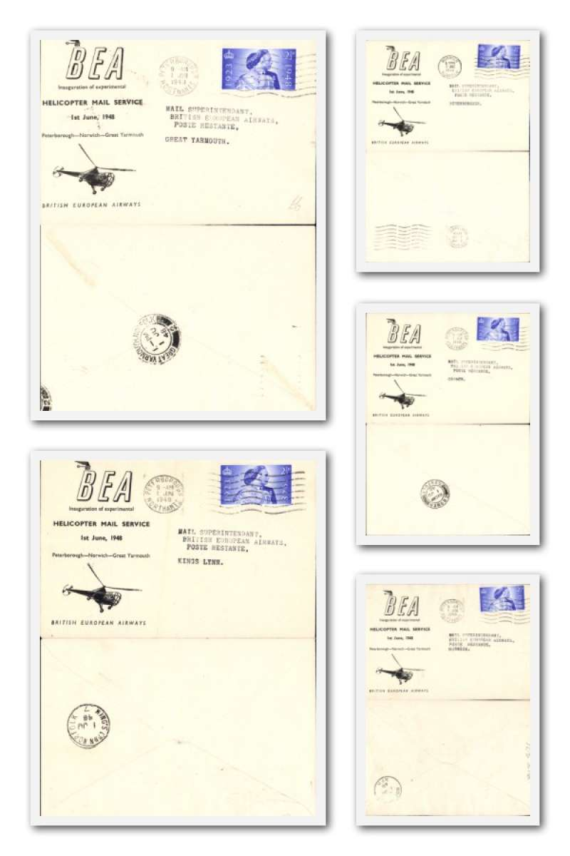 (Collections) BEA Inauguration of Experimental Helicopter Mail Service 1/6/1948, collection of 5 first flight covers, all fine, no duplication. See the website for a front and back scan of each cover in the lot.