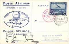 (Belgium) Brssells-Rozluez, bs, Bollon Belgica special card, MIXED FRANK 50c Belgium air tied special also red 'Raid Belgica dated cachet,  verso Poland 5G x2 tied Rozluez arrival cds. PILOT SIGNED.