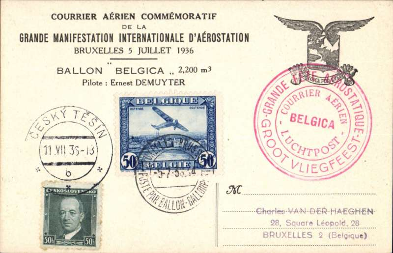 (Belgium) Brssells-Cesky Tesin, bs, Ballon Belgica special Expo card, MIXED FRANK 50c Belgium air tied special Expo cds and 50h Czeckslovakia canc Cesky 11/7 arrival cds, large 'Internationale d'Aerostation' cachet.