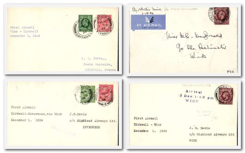 (Collections) Scotland 1/12/1934, four first flights, Kirkw-Inv; Inv-Wick; Wick-Kirkw and Kirwl-Wick, all fine. .