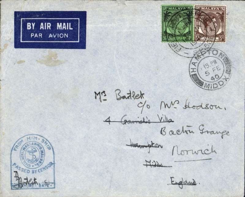 (Singapore) WWII censored FPO airmail, Singapore to England, 5/2/40 arrival ds on front,imprint etiquette cover correctly rated 55c, canc 'Field Post Office/16 Ja 1940/SP 501' cds, fine strike blue 'H.M. Ship' censor mark.