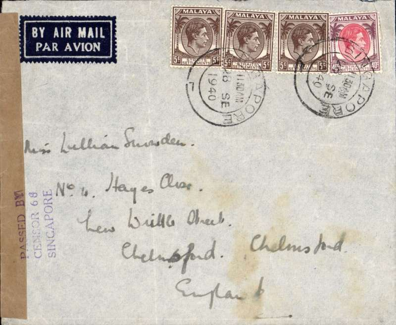 (Singapore) WWII censored airmail, Singapore to England, correctly rated 55c, canc Singapore dr cds, sealed brown Singapore censor tape, tied by three line 'Passed by/censor 68/Singapore' censor mark.
