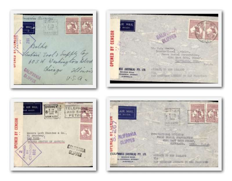 (Collections) Australia Pacific Clipper services up to the attack on Pearl Harbour, four censored WWII airmails 1940/41 to USA, all correctly rated 4/- per 1/2oz for carriage to US, sealed red/white OBC Australia censor tape tied by censor marks, black, blue and violet 'California Clipper' hs's. Flown by Pan Am FAM19 to San Francisco, then US internal air service to destination. The Pacific Clipper service ceased after the Japanese attack on Pearl Harbour on 11/12/41. See the website for scan of each cover in the lot.